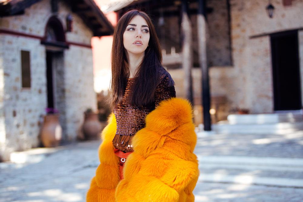 rosa arancione pelliccia lady fur