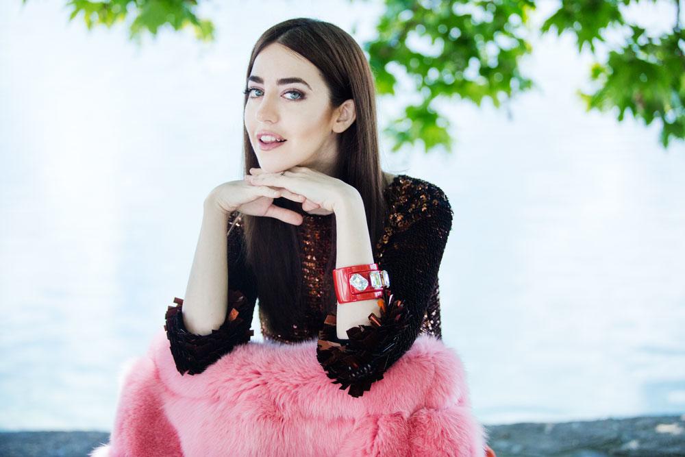 pelliccia rosa arancione lady fur bella