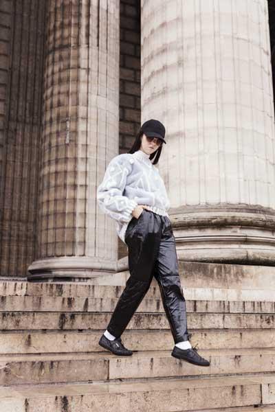 pantaloni in nylon e pelliccia lady fur