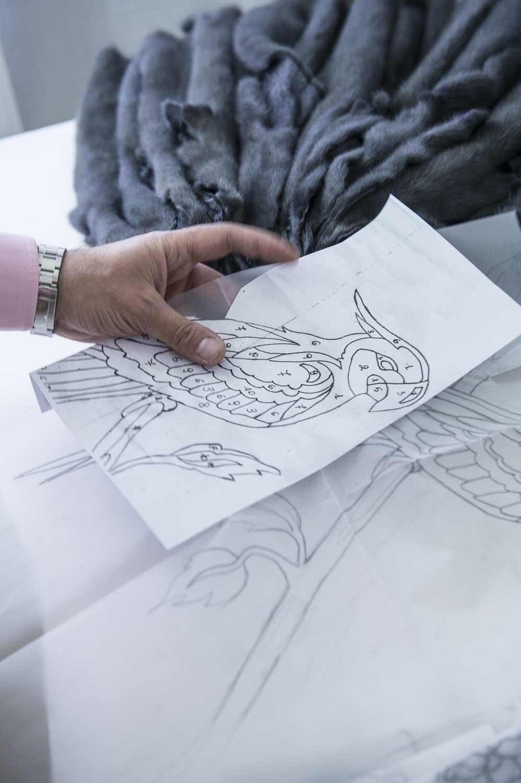 disegno dell'intarsio in visone