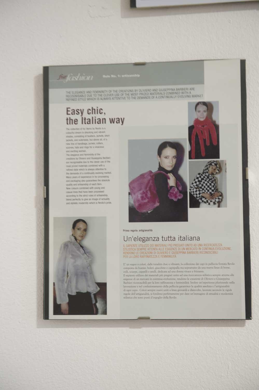 poster del lavoro di revilo pellicce per i grandi brand della moda